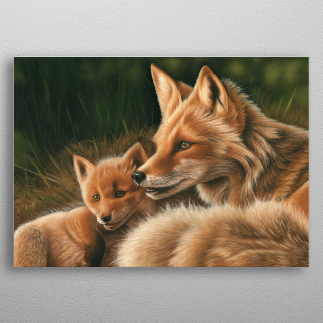 This image of a fox and cub is from an original pastel painting. This would make an ideal gift for any wildlife lover. metal poster