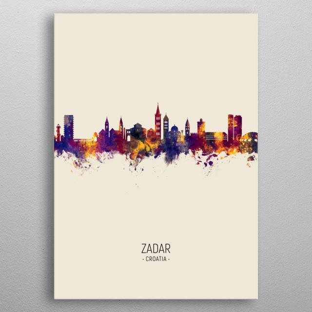 Watercolor art print of the skyline of Zadar, Croatia metal poster