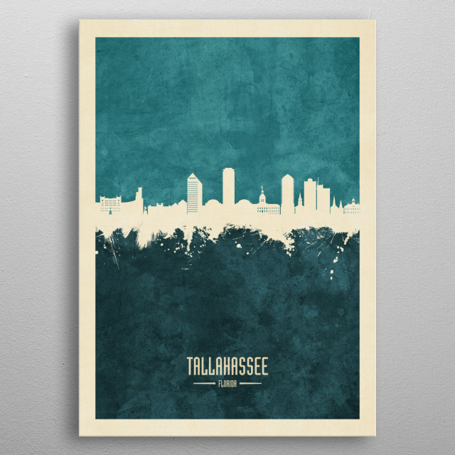 Watercolor art print of the skyline of Tallahassee, Florida, United States metal poster