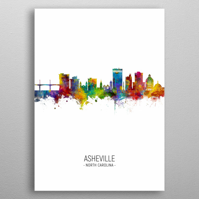 Watercolor art print of the skyline of Asheville, North Carolina, United States metal poster