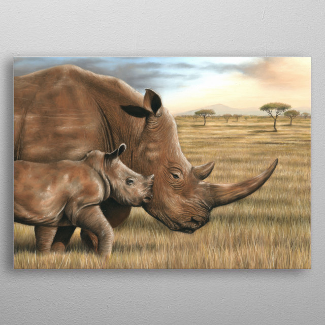This image of a rhino and calf is from an original pastel painting. This would make an ideal gift for any wildlife lover. metal poster