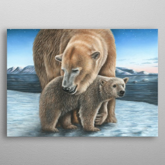 This image of a polar bear and cub is from an original pastel painting. This would make an ideal gift for any wildlife lover. metal poster