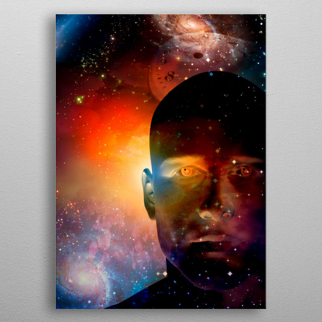 Man head and clock face in endless space metal poster