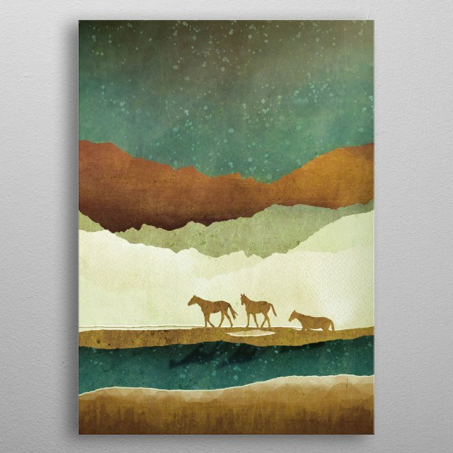 Abstract landscape with stars, horses and mountains metal poster