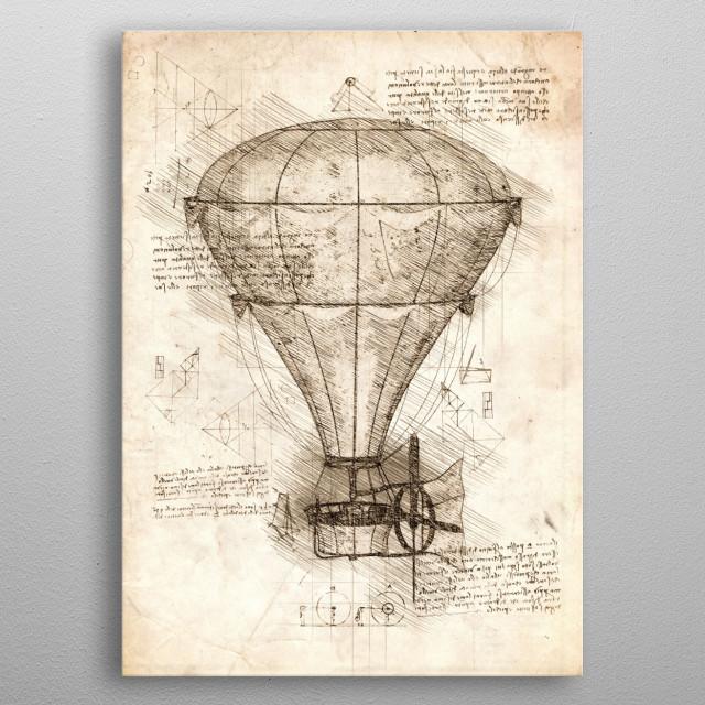 Sketch of a Hot Air Balloon metal poster