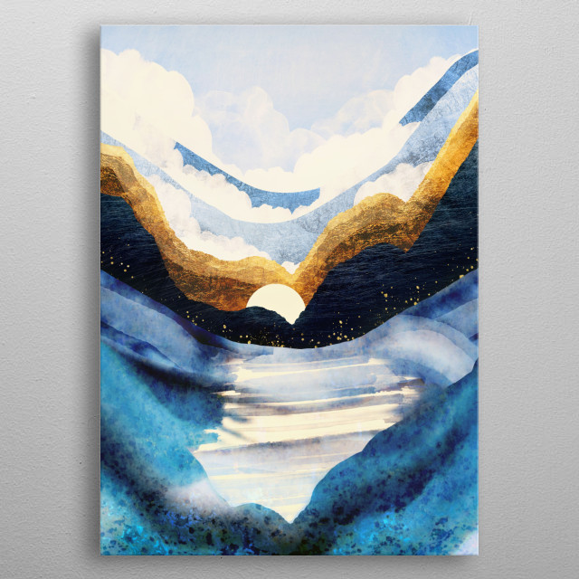 Abstract landscape depicting a sunrise with mountains, water, blue and gold metal poster