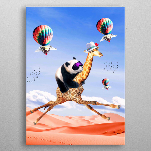 Pick up this cute funny panda giraffe design featuring a panda riding a flying giraffe. This makes a perfect gift so pick one up today.  metal poster