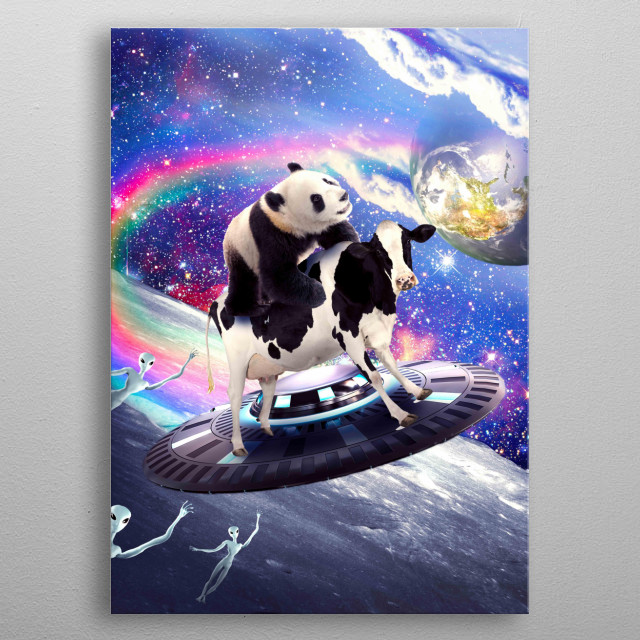 Pick up this cute funny panda cow design featuring a panda riding a flying cow UFO with alien. metal poster