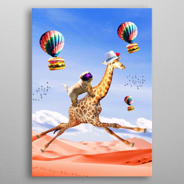 Pick up this cute funny dog giraffe design featuring a dog riding a flying giraffe. This makes a perfect gift so pick one up today.  metal poster