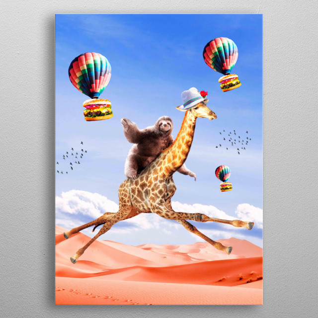 Pick up this cute funny sloth giraffe design featuring a sloth riding a flying giraffe. This makes a perfect gift so pick one up today.  metal poster