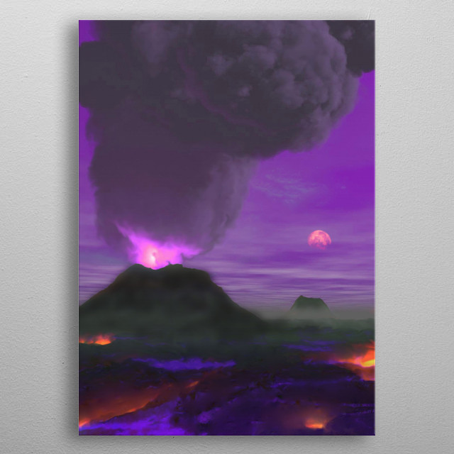 Artist's concept illustration of a volcano erupting on an imaginary exoplanet. metal poster