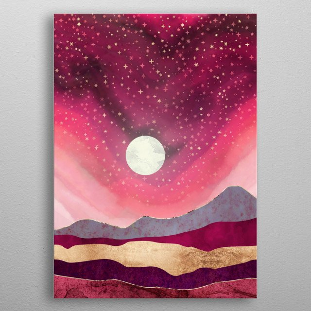 Abstract landscape of a scarlet night with stars, gold, pink, mauve and purple metal poster