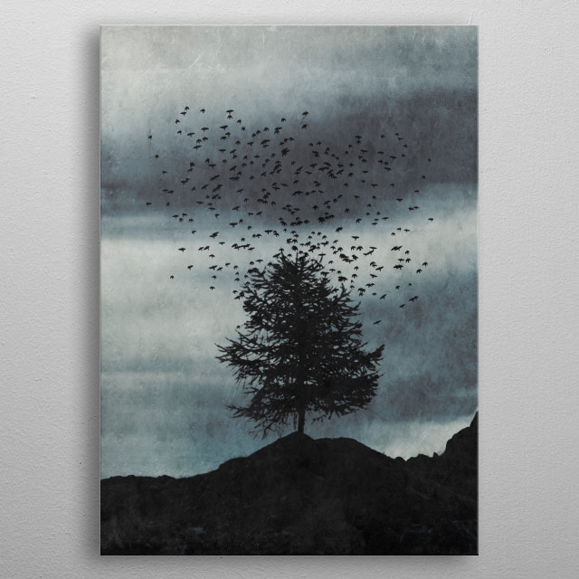 Lone tree on a mountain range with a large flock of birds rising up into the sky metal poster