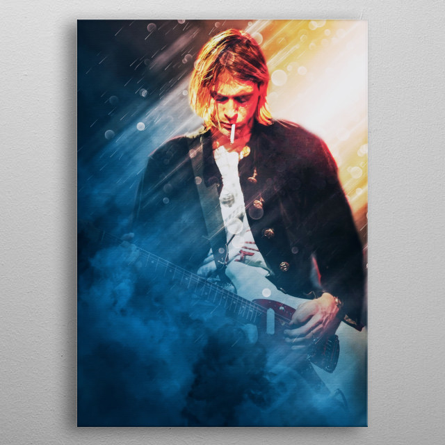 Kurt Donald Cobain is a singer, songwriter and guitarist in Seattle's grunge band, Nirvana metal poster