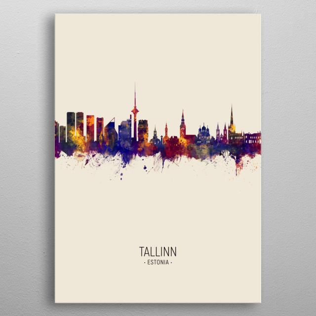 Watercolor art print of the skyline of Tallinn, Estonia metal poster