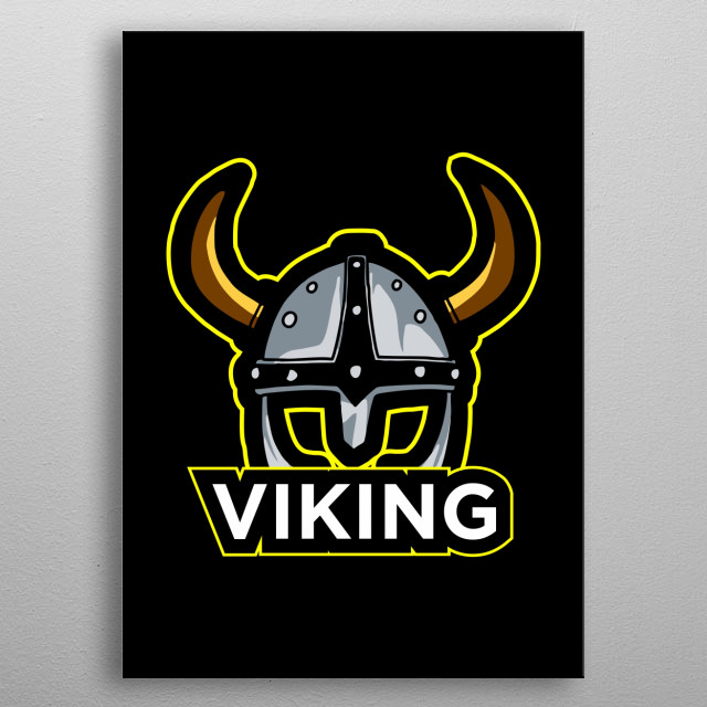 Viking esport logo design metal poster
