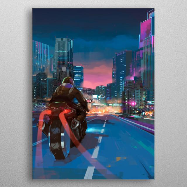 Digital illustration of a motorbike in a cyberpunk city. Akira inspired. metal poster