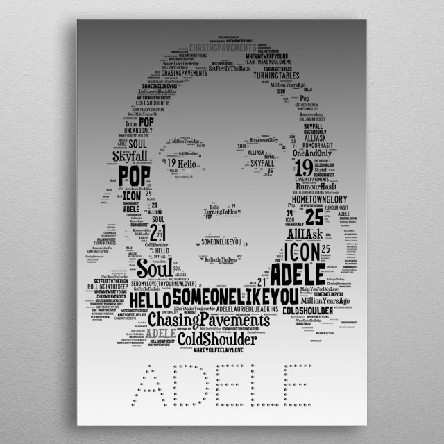 Adele's iconic image recreated in the words of all her singles and albums metal poster