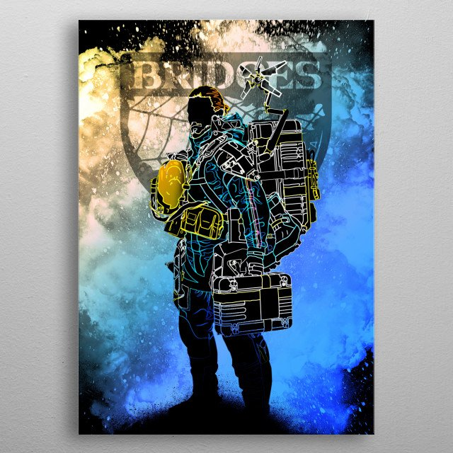 Black silhouette of the Deliveryman metal poster