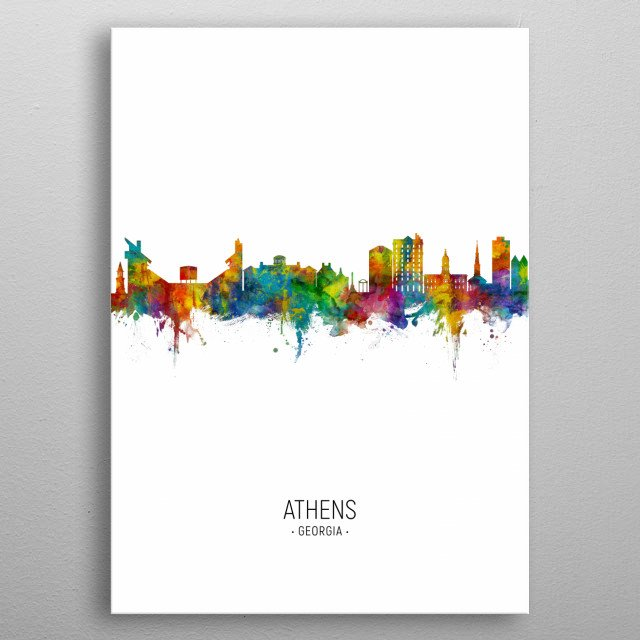 Watercolor art print of the skyline of Athens, Georgia, United States metal poster