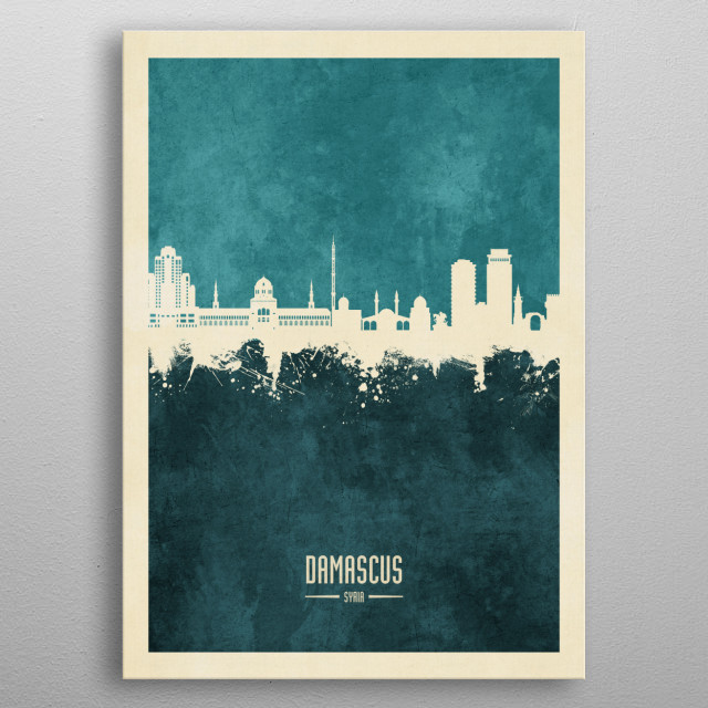 Watercolor art print of the skyline of Damascus, Syria metal poster