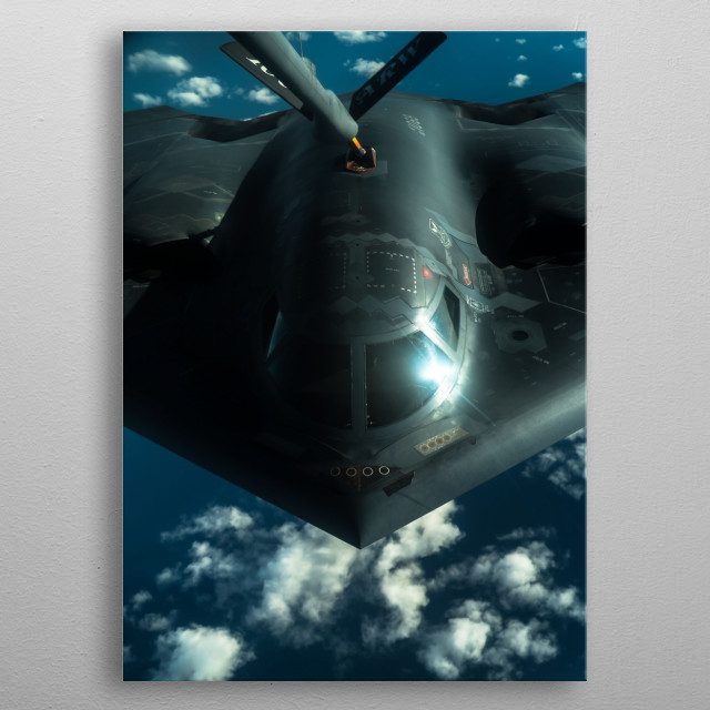 The Northrop B-2 Spirit, also known as the Stealth Bomber, is an American heavy strategic bomber. metal poster