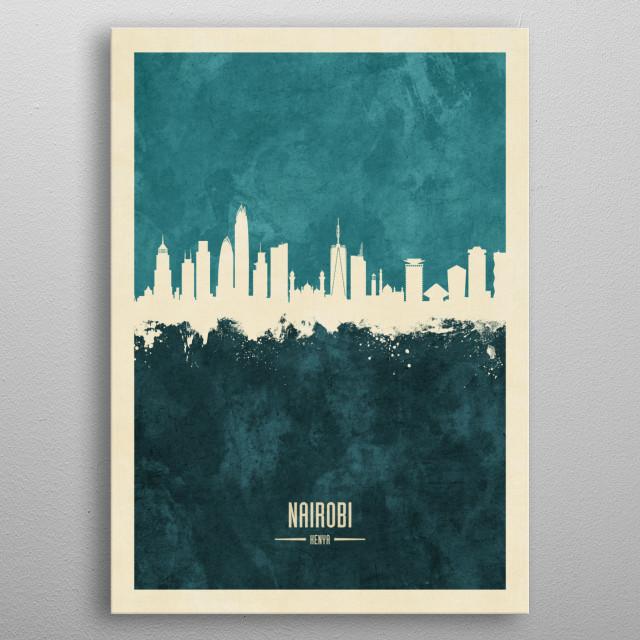 Watercolor art print of the skyline of Nairobi, Kenya metal poster