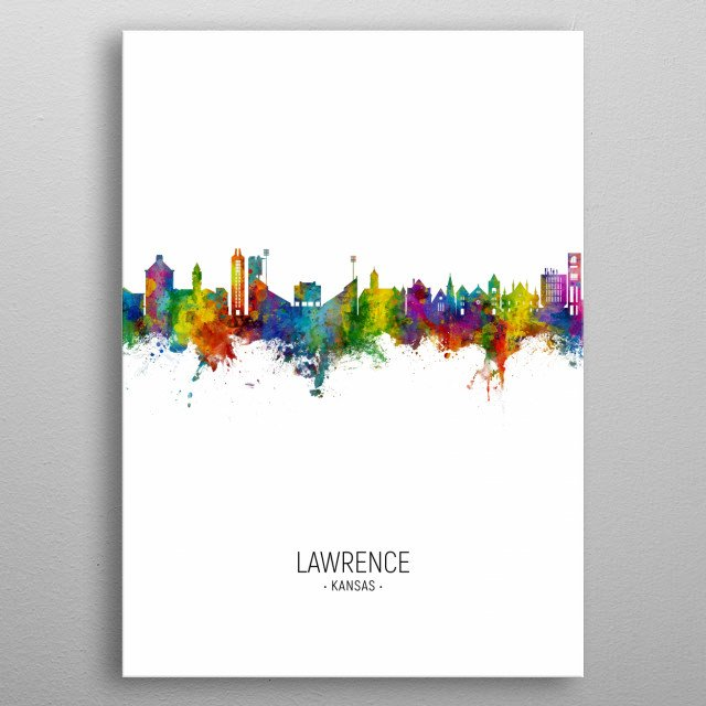 Watercolor art print of the skyline of Lawrence, Kansas, United States metal poster