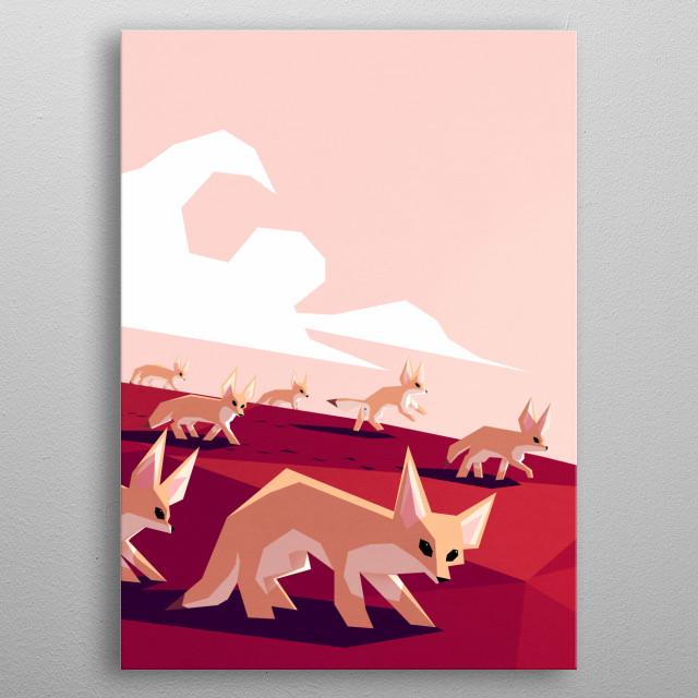 Desert foxes enjoying a morning walk metal poster
