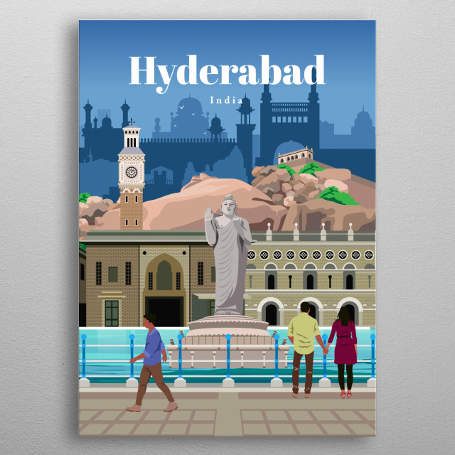 Digital illustration of Hyderbad's city skyline and architecture including the Buddha statue in the lake and Golconda fort.  metal poster