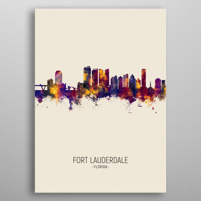 Watercolor art print of the skyline of Fort Lauderdale, Florida, United States metal poster