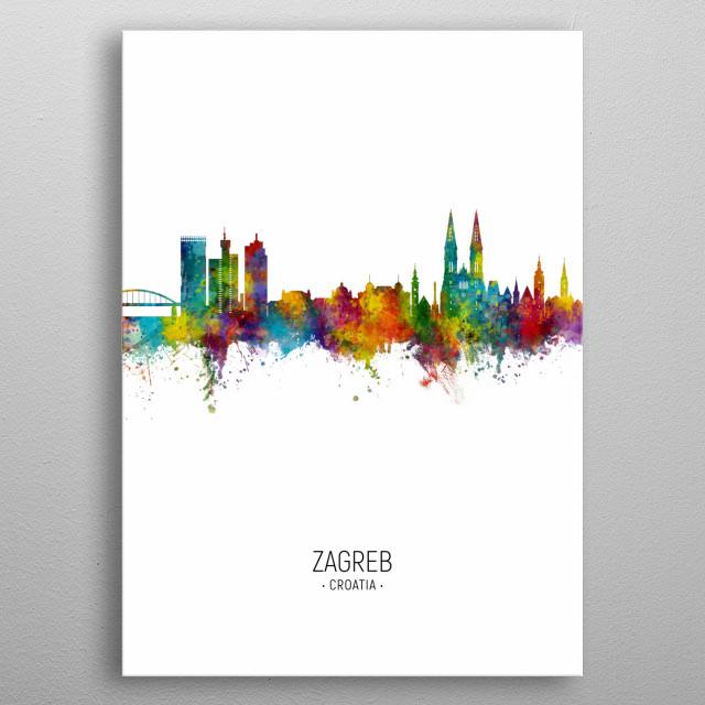 Watercolor art print of the skyline of Zagreb, Croatia metal poster