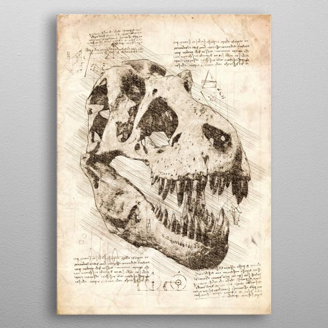 Sketch of a Tyrannosaurus Rex Skull metal poster