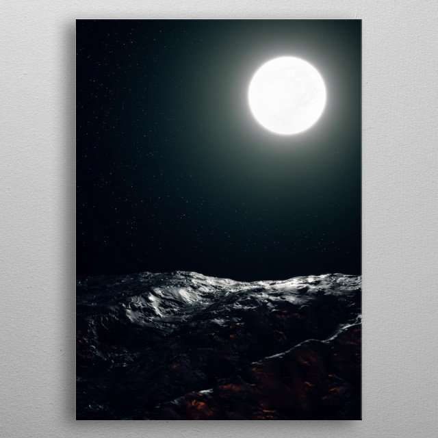 """""""A hushing dusk under a swollen silver moon"""" Created in Cinema4D, rendered in Corona and enhanced in Photoshop.  metal poster"""