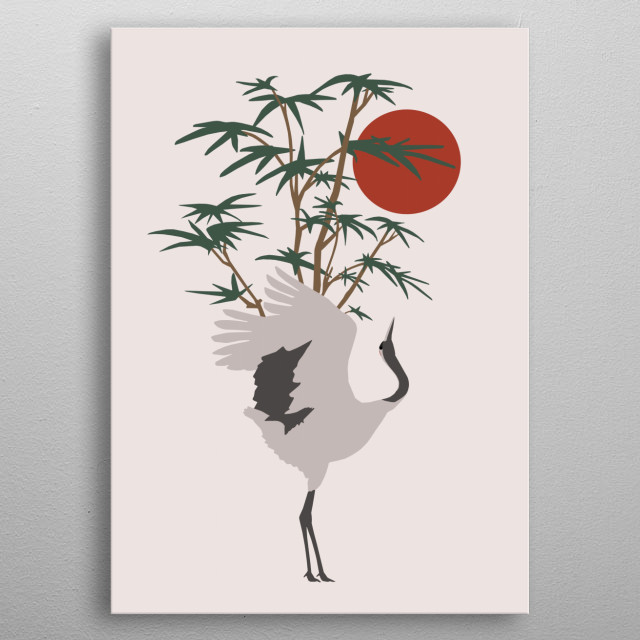 A prancing crane in front of a bamboo bush under a red moon. metal poster