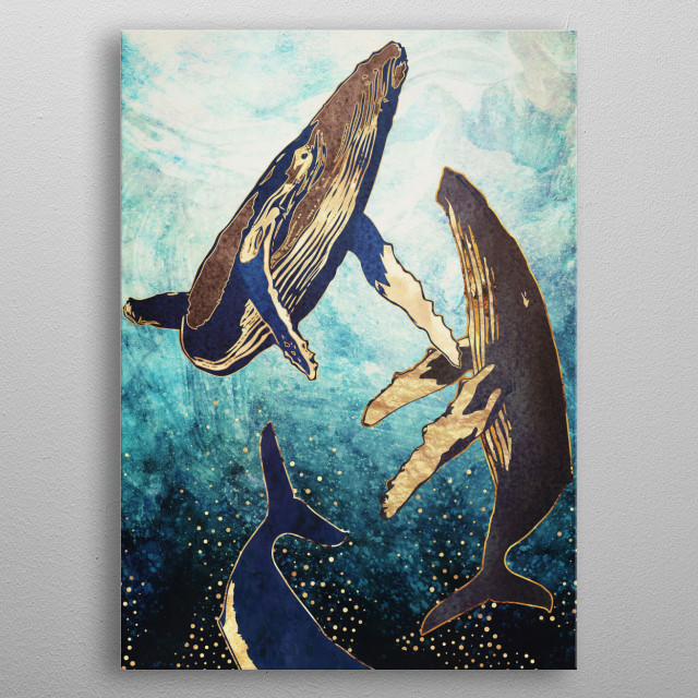 Abstract depiction of whales ascending in the ocean with gold, blue and aqua metal poster