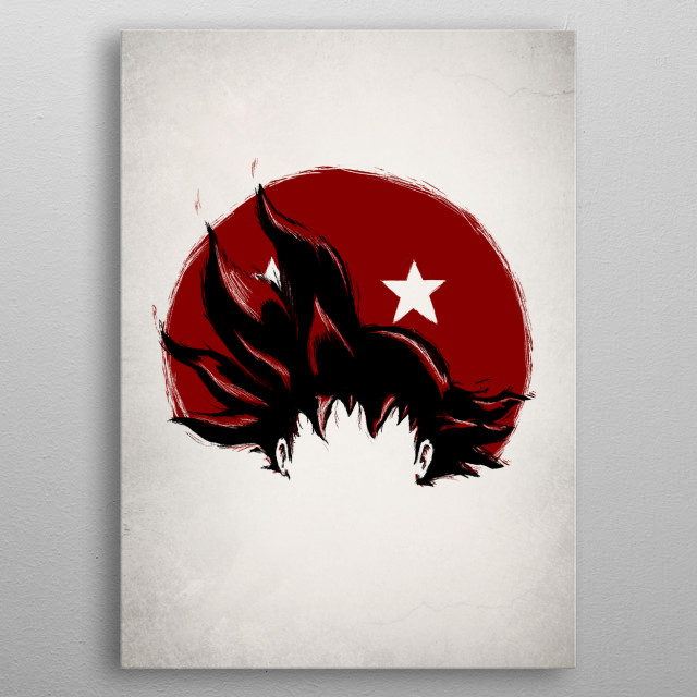 Illustration of Goku's identity within the dragon ball series by Geek Zen metal poster