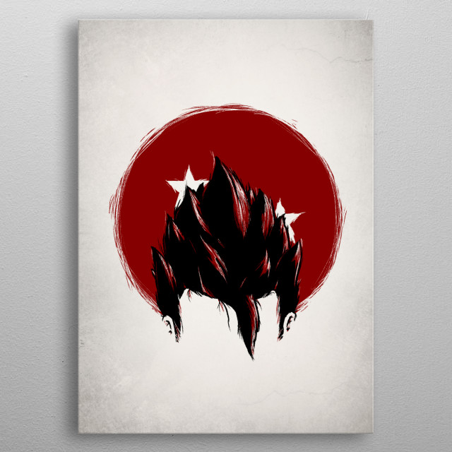 Illustration of Gohan's identity within the dragon ball series by Geek Zen metal poster