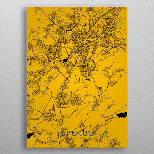 Երևան map metal poster