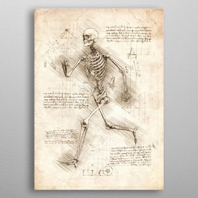 Sketch of a Human Skeleton Running metal poster