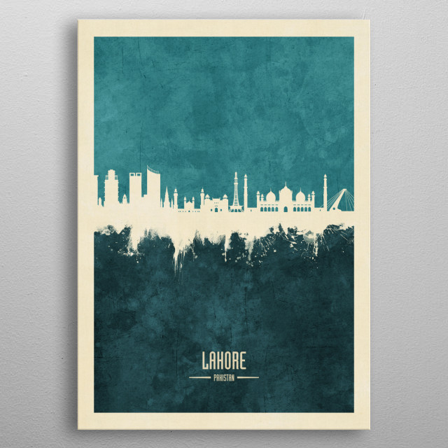 Watercolor art print of the skyline of Lahore, Pakistan metal poster