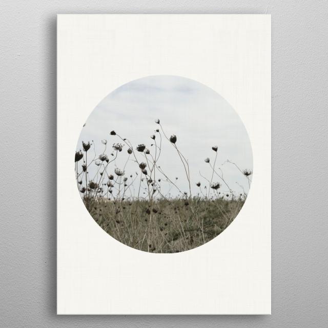 Beautiful winter field modern landscape in a circular crop. metal poster