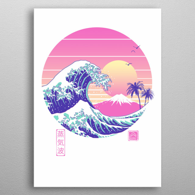 "My transition between retrowave to vaporwave aesthetics is the ""The Great Vaporwave"".   metal poster"