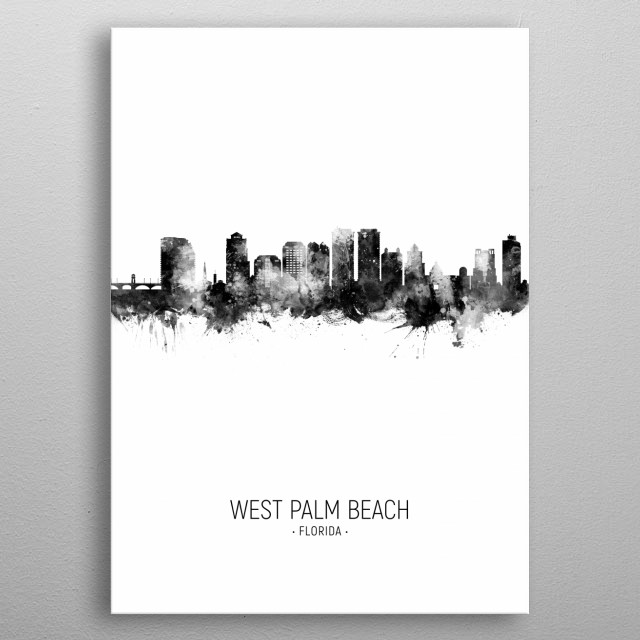 Watercolor art print of the skyline of West Palm Beach, Florida, United States metal poster
