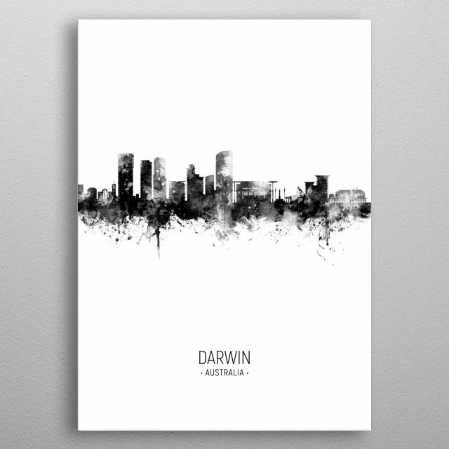 Watercolor art print of the skyline of Darwin, Australia metal poster