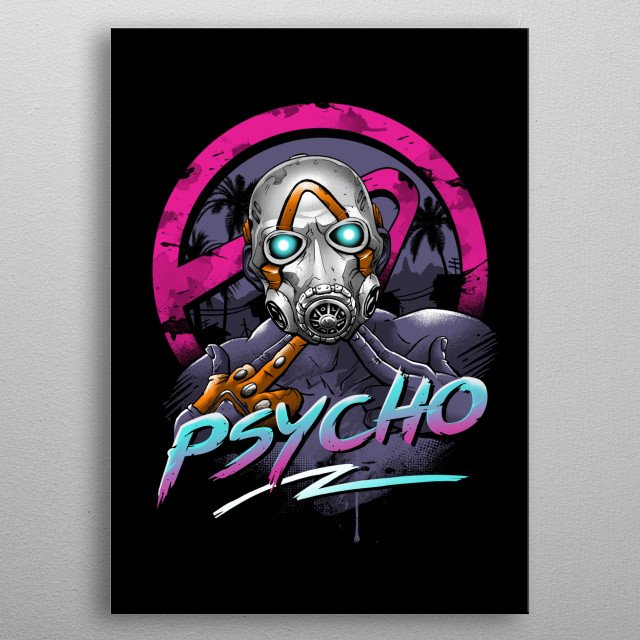 Psycho in rad 80's retrowave aesthetics. metal poster