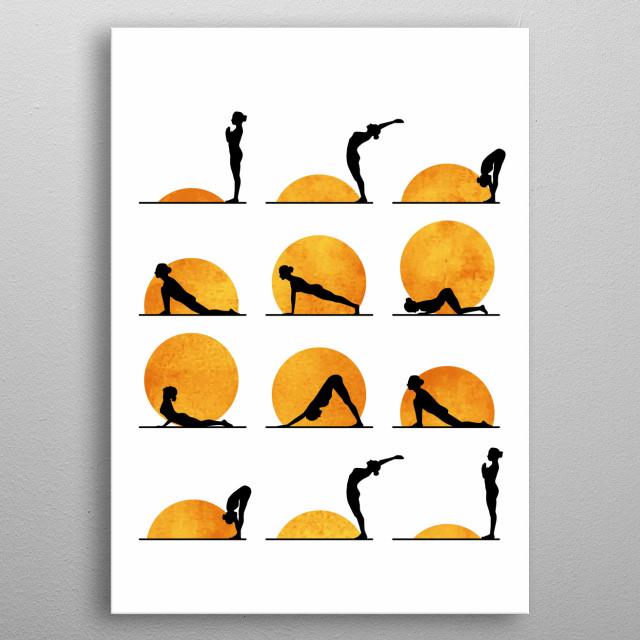 yoga positions sun metal poster