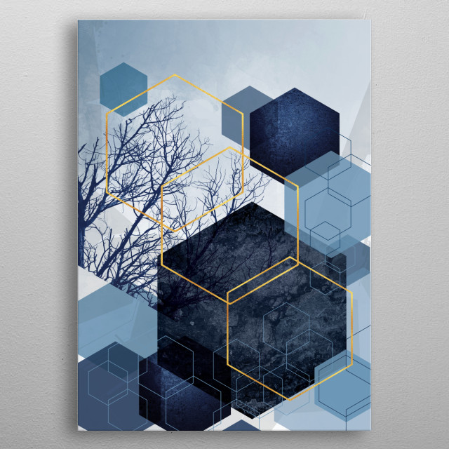 Abstract geometric hexagon art in navy blue and gold metal poster