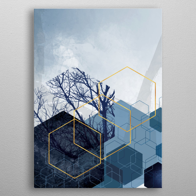 Abstract geometric art in navy blue and gold metal poster