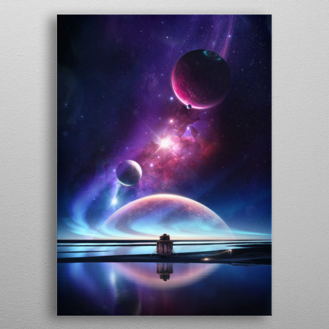 An astronaut exploring a new planet somewhere in space. metal poster